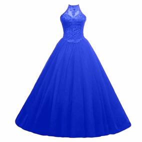 Vestido De Debutante Gola Cabresto Azul - Tamanho 36-38