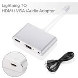 Convertidor Lightning A Hdmi Y Vga Con Audio Integrado