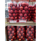 Esferas Navideñas Estuche 30 Pzas Rojo Brillosas