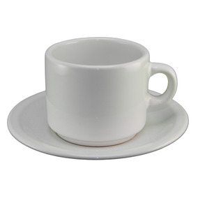 Kit Taza Cafe Desayuno Con Plato Porcelana Bar Resto Vidrio