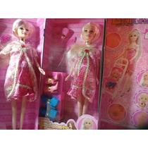 Bella Muñecatipo Barbie Espera D Bebe Embarazada Accesorios!