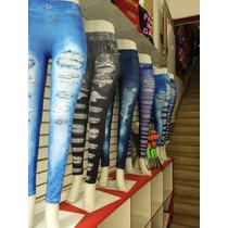 Kit 18 Legging Jeans + 10 Short Imitação Rasgado Feminina