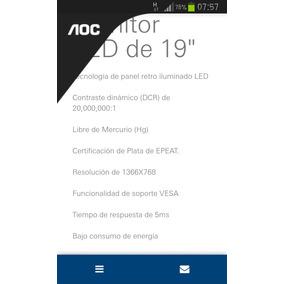 Monitor Lcd Marca Aoc De 19 Pulgadas.