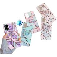 Funda Galaxy Marmol +pop Geometria Dama Mujer Protector Case