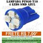 Lâmpada Led Esmagada Azul T10 Hi Power 4 Leds 12v