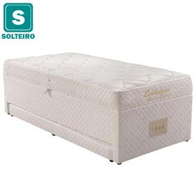 Cama Box Baú + Colchão Solteiro De Molas Bonnel