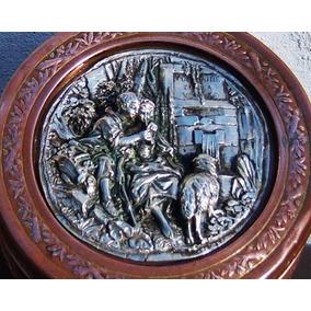 Hist.*-antiguo Cofre Francia Placa Plata Fuente Del Amor-env