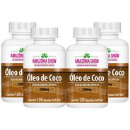 Oleo De Coco 120 Capsulas De 1000mg Combo 4 Frascos!