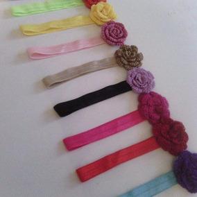Cintillos Con Flor Tejida A Croche Para Bebes De 0-6 Meses