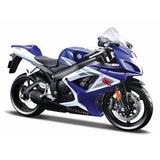 Suzuki Gsx R-750 2006 Azul 1:12 Diecast Moto Modelo Ma