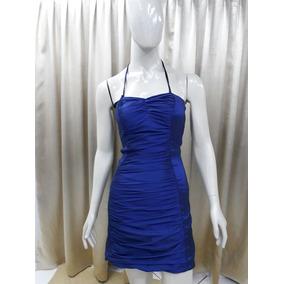 Vestido Curto Tubinho Tafetá Com Elastano Azul Royal S-302