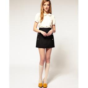 Mini Falda Corte A Wear Lana Viscosa Talla 44 Botones Dorado