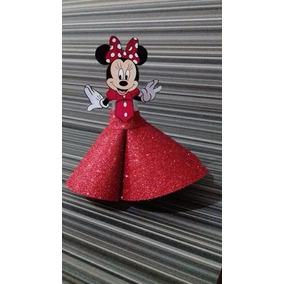 10 Tubetes Personalizados Minnie Vermelha - Eva Com Brilho