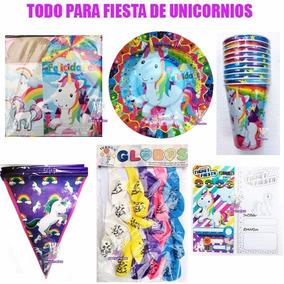 Fiesta Unicornio Invitaciones Platos Vasos Globos Cajas Bolo