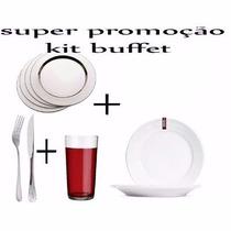 Kit Buffet Copo + Talheres + Sousplat + Prato