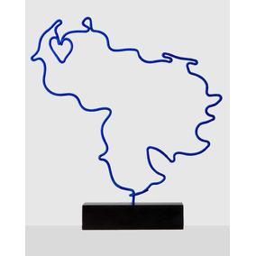 Escultura mapa De Venezuela Azul Eléctrico