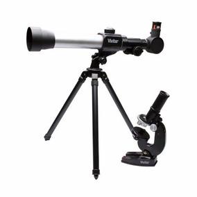 Telescópio Refrator Com Tripé + Kit Microscópio Infantil