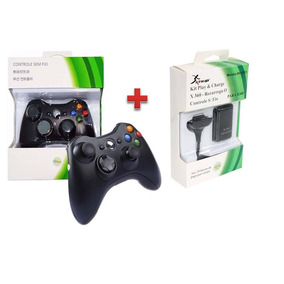 Kit Controle Para Xbox360 Sem Fio Original Feir + Bateria