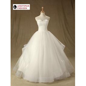 Vestido De Noiva Organza Plissado +brinde Sob Encomenda Luxo