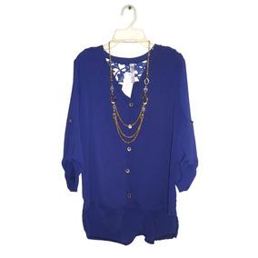 Blusa Azul Cola De Pato Nueva Crochet No Limpia Closet