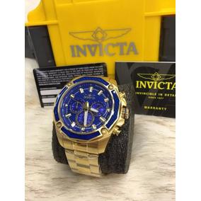 Relógio Masculino Invicta Aviator 22805 Dourado Azul Hrl0061