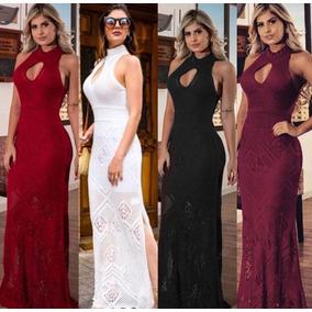 Vestido Feminino Longo Tricot Trico Decote Festa Boutique