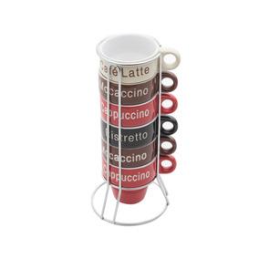 Conjunto 6 Xícaras Café Porcelana Com Suporte 70ml - Rj30364