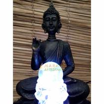 Fonte Buda Água Luz Bola Cristal Meditação Flor Lotus Stress