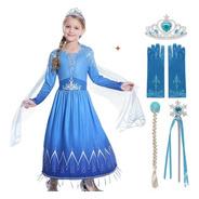Fantasia Vestido Infantil Elsa Filme Frozen 2 Voal Pingente