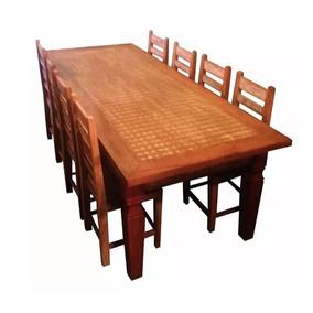 Jogo De Mesa 2,5m Com 8 Cadeiras - Madeira De Demolição