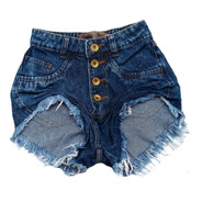 Shorts Jeans Feminino Manchado Cós Alto Destroyed St001