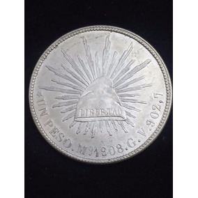 Moneda Republica Peso México 1908 Gv Plata Envió Gratis