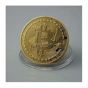 Moeda Bitcoin Física Edição Comemorativa- Banhada A Ouro