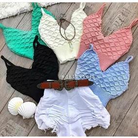 Top Blusa Cropped Trico Tricot Alcinha Lançamento Verão 2018