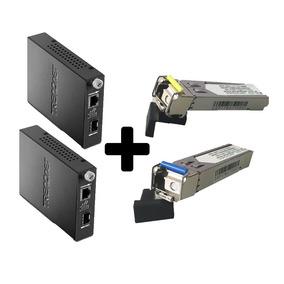 Combo Enlace Fibra 1 Hilo 10kms Media Converter + Minigbic