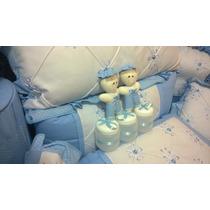 Kit Protetor Para Berço Azul Bebê 09 Peças 100% Algodão