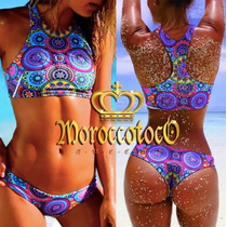 Bikini Top Deportivo Mandala Push Up Importada Art 3155
