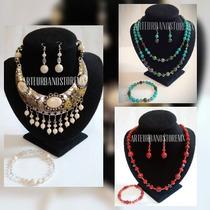 Collar Coordinado (collar, Aretes Y Pulsera) Lote Mayoreo$58