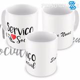 Caneca Porcelana Serviço Social Assistente Social Com Nome 4
