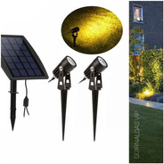 Estaca Panel Solar X2 Luz Led Jardin Exterior