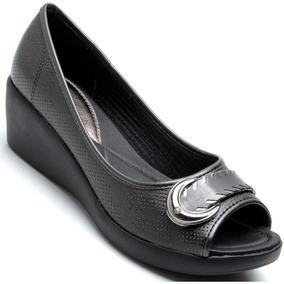 Sapato Azaléia Leve Perolizado Anabela Feminino