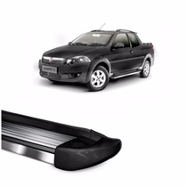 Estribo Fiat Strada 2014 A 2017 Stribus - Preto Fosco