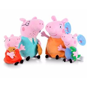 Peppa Pig Com A Familia 4 Bonecos De Pelúcia + Frete Grátis