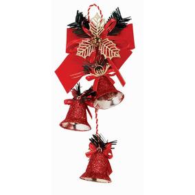 Enfeite De Natal 3 Sinos E Laço Vermelho 27 Cm