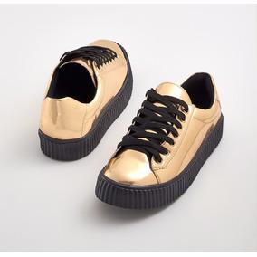 Tênis Creeper Metalizado Dourado E Preto Plataforma Sneaker