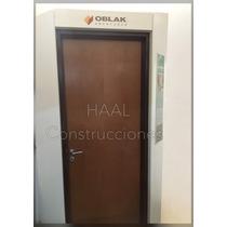 Puerta Placa Cedro 80x200 Tabique 10/durlock Oblak M/chapa