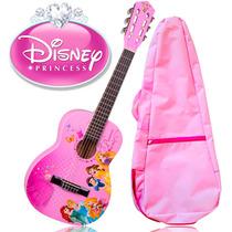 Violão Infantil Rosa Disney Princesas + Capa Brinde Rosa