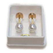 Aros Abridores Ch Perlas Cultivadas 4mm Cod 709 Oro 18kts
