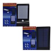 2x Lampara Solar 36 Led Reflector Luces Panel Exterior Ip65
