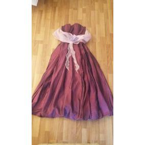 Liquido Vestido Largo Fiesta Shantung Seda Color Violeta M